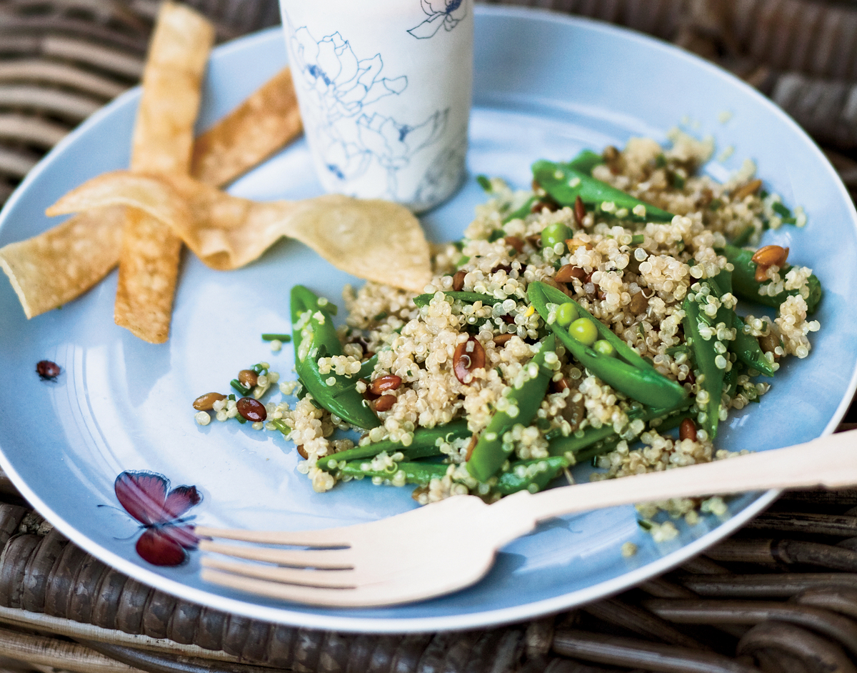 """<strong>Get the <a href=""""http://www.huffingtonpost.com/2011/10/27/quinoa-salad-with-sugar-s_n_1058636.html"""" target=""""_blank"""">Q"""