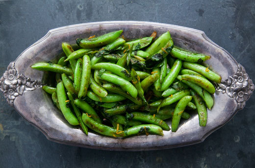 """<strong>Get the <a href=""""http://www.simplyrecipes.com/recipes/seared_sugar_snap_peas/"""" target=""""_blank"""">Seared Sugar Snap Peas"""