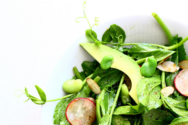 """<strong>Get the <a href=""""http://food52.com/recipes/11654-pea-shoot-salad-with-fava-beans"""" target=""""_blank"""">Pea Shoot Salad wit"""