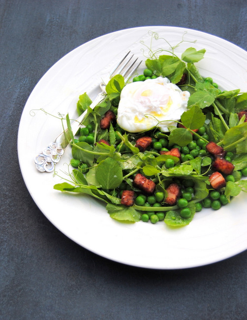 """<strong>Get the <a href=""""http://whatsforsupper-juno.blogspot.com/2012/03/pea-and-pea-shoot-salad-with-bacon-eggs.html"""" target"""