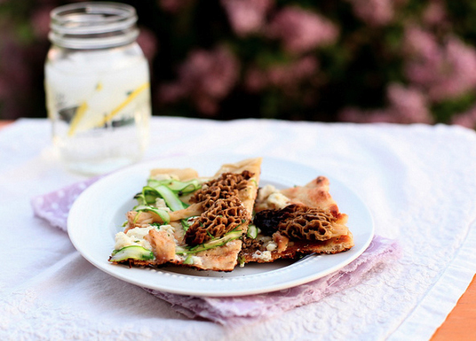 """<strong>Get the <a href=""""http://www.annies-eats.com/2012/04/19/grilled-flatbread-with-morels/"""" target=""""_blank"""">Grilled Flatbr"""