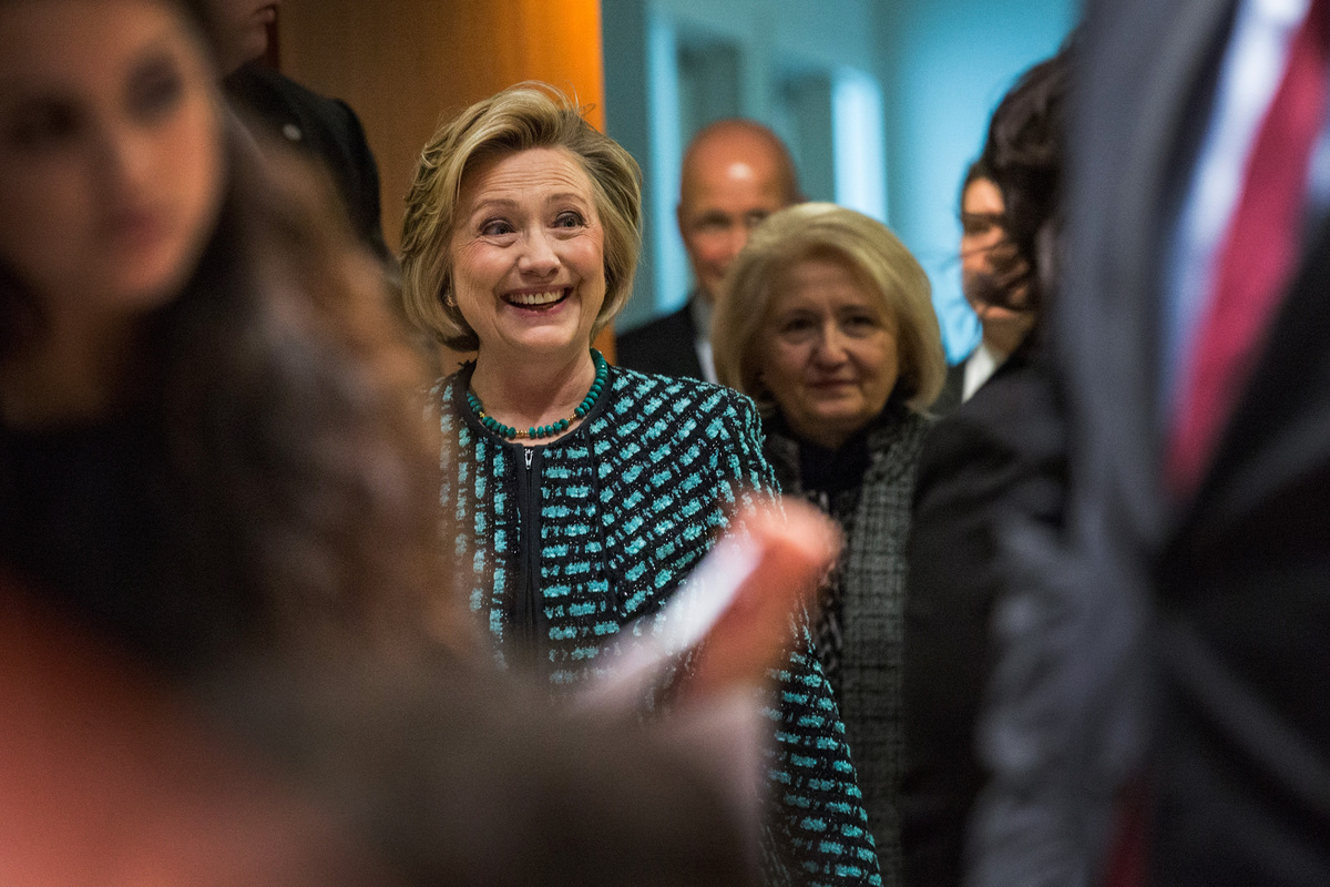 NEW YORK, NY - MARCH 07:  Former United States Secretary of State Hillary Clinton arrives at the event 'Equality for Women is