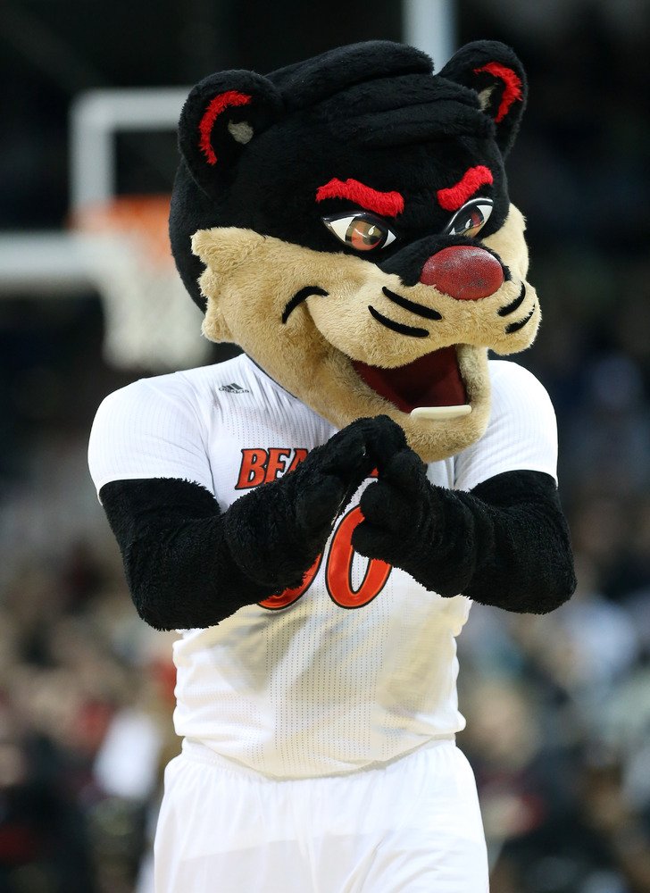 SPOKANE, WA - MARCH 20:  The Cincinnati Bearcats mascot cheers on his team during their game against the Harvard Crimson in t