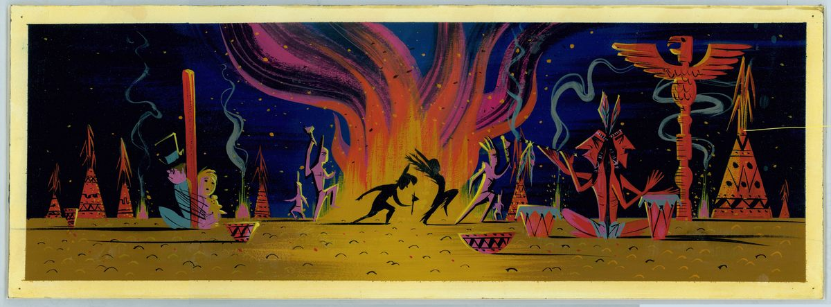 Mary Blair, Concept of Tiger Lily and Peter Pan dancing around campire, ca. 1952, gouache, 7.63 x 21.13 in (19.37 x 53.66 cm)