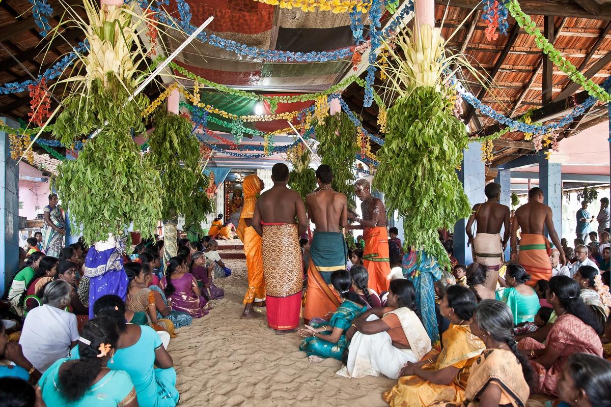 Poosari (priest) dressed up as (and possessed by) the goddess, Kannaki Amman, Kovil, Thandanveli, Batticaloa