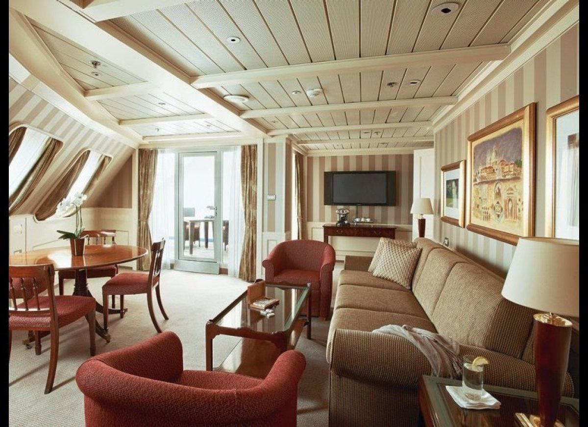 <strong>Silversea Cruises</strong>  The Royal Suite, which can be found on Silversea's Silver Cloud, Silver Shadow, Silver