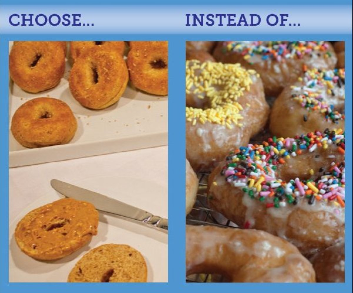 Doughnuts are packed with added sugars that few of us can afford, nutritionally. If planning or attending a meeting, go for t