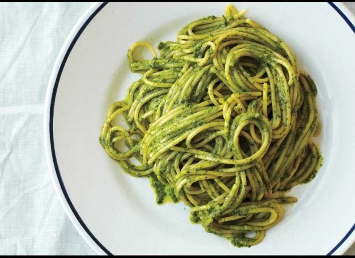 """""""I know it's veering dangerously close to pasta salad territory, but pasta with pesto. And porchetta."""" <em>—Christine Muhlke,"""