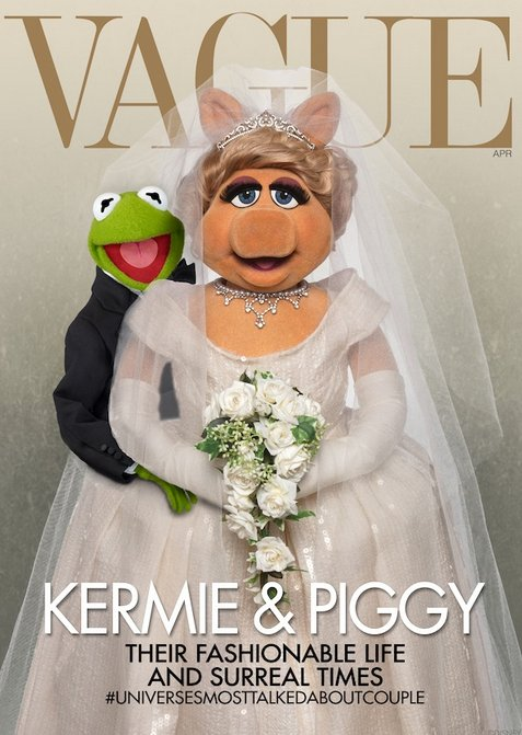 Piggy and Kermit Photoshopped themselves into Kim Kardashian and Kanye West's Vogue cover. (And we think they look better tha
