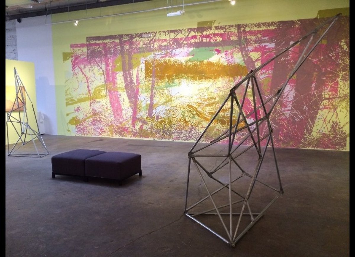"""""""On Land: Greg Lindquist and Mary Mattingly"""" installation view, Flanders Gallery, Raleigh, NC, 2014. Photo courtesy of the ar"""
