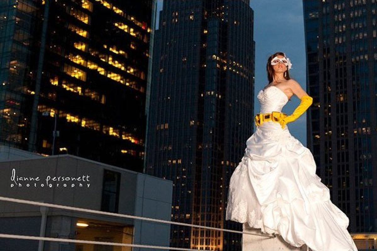 This bride is so obsessed with Batman that in high school, she wore a Bat-Signal belt buckle nearly every day, and her fellow