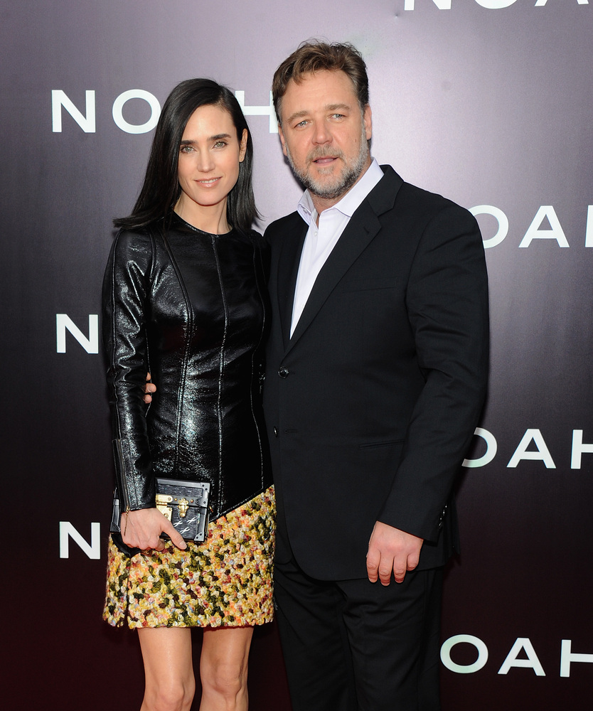 NEW YORK, NY - MARCH 26: Actors Jennifer Connelly (L) and Russell Crowe attend the 'Noah' New York premiere at Ziegfeld Theat