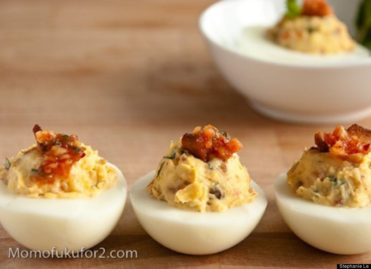 "<strong>Get the <a href=""http://momofukufor2.com/2010/03/kimchi-bacon-deviled-eggs/"" target=""_hplink"">Kimchi Bacon Deviled Eg"