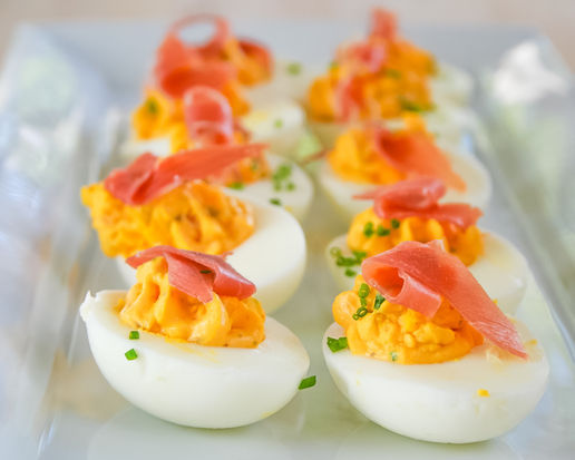 """<strong>Get the <a href=""""http://food52.com/recipes/19927-spicy-deviled-eggs"""" target=""""_blank"""">Spicy Deviled Eggs recipe from F"""