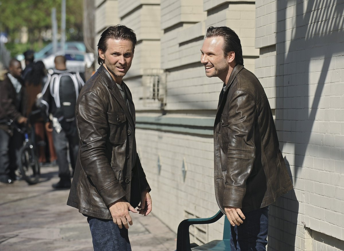 "Christian Slater, right, with his stunt double, Marc Shaffer, on the set of ABC's ""The Forgotten."""