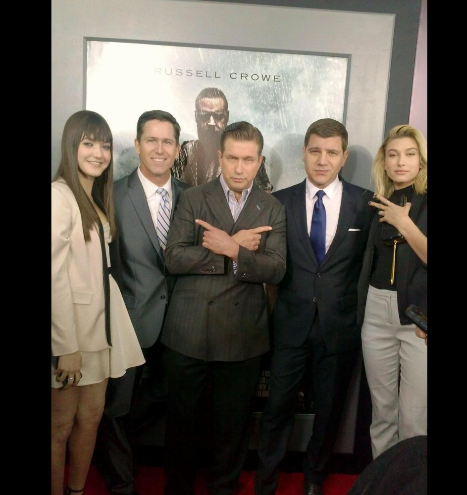 Alaia Baldwin, Guest, Stephen Baldwin, Tom Murro and Hailey Baldwin attend the NYC premiere of Noah