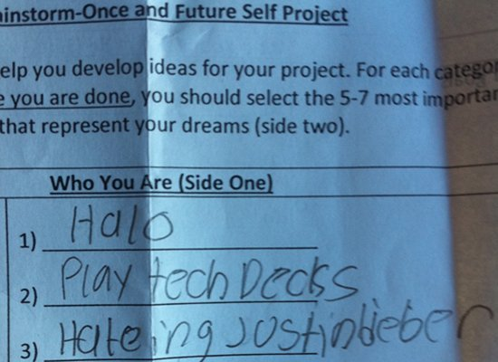 """My 12-year-old son had a recent assignment in his 7th grade Language Arts class.  The students were apparently to list what"