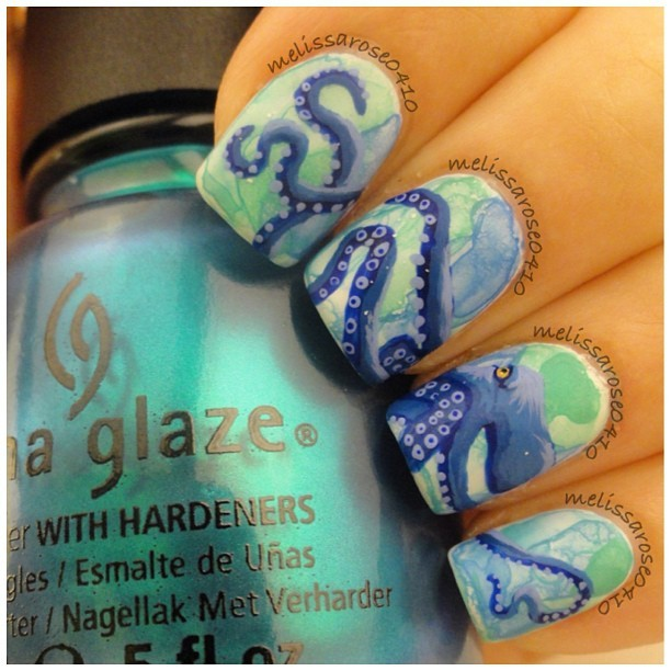 Tropical nail art sunsets sea turtles and sandy beaches photos just try stretching out your tentacles prinsesfo Gallery