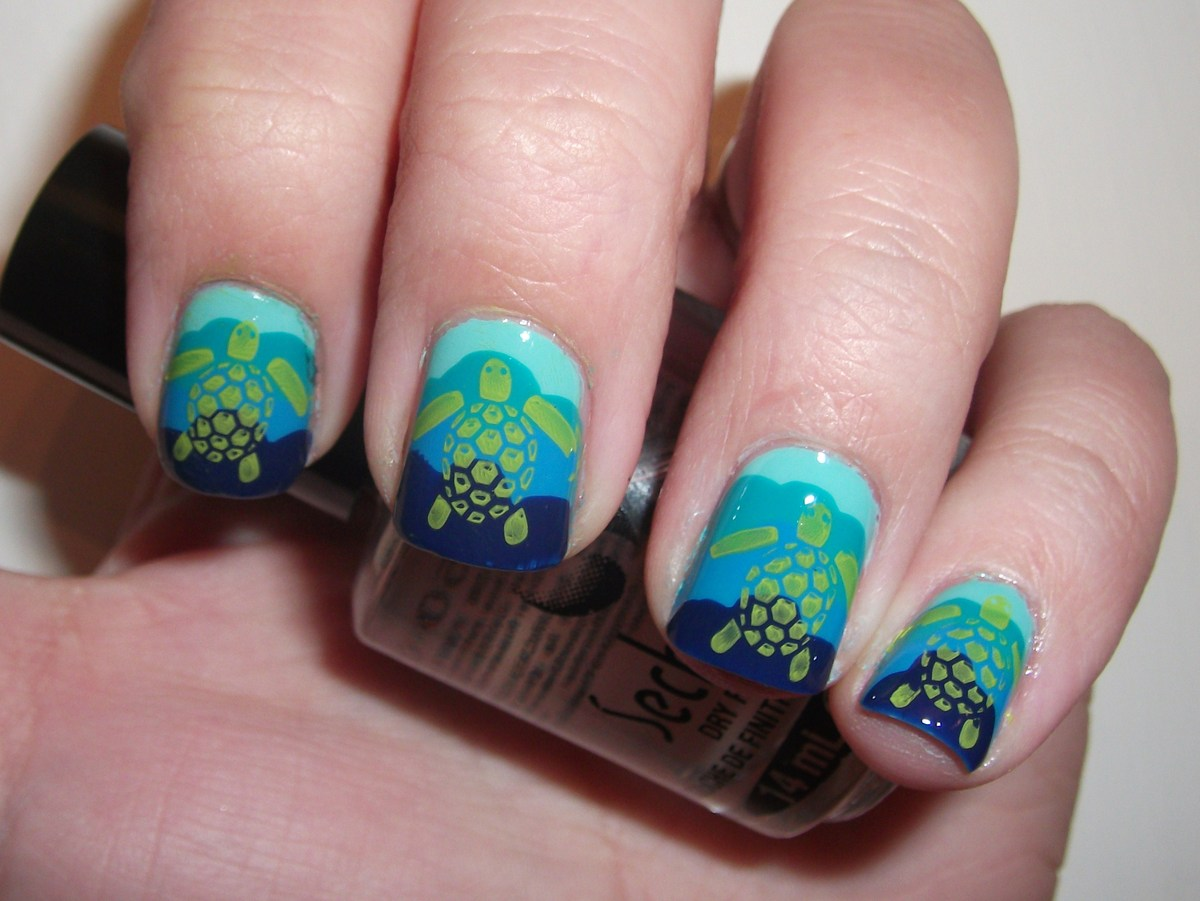 Tropical nail art sunsets sea turtles and sandy beaches photos make it simpler by using a cool nail plate to put your stamp on it prinsesfo Images