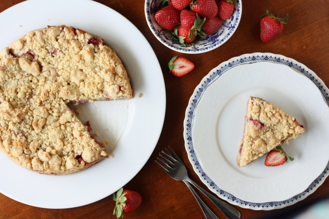 """<strong>Get the <a href=""""http://www.completelydelicious.com/2012/03/strawberry-rhubarb-coffee-cake.html"""" target=""""_blank"""">Stra"""
