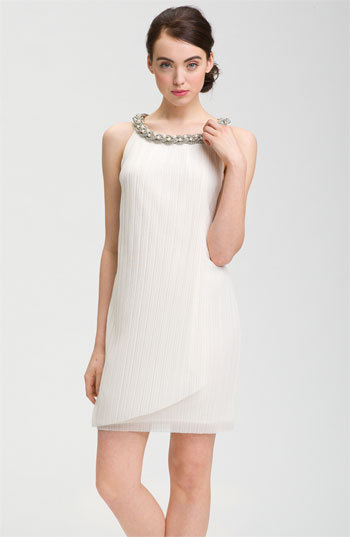 "<em>Donna Ricco Embellished Neck Chiffon Shift Dress from <a href=""http://shop.nordstrom.com/c/wedding-dresses?origin=leftnav"