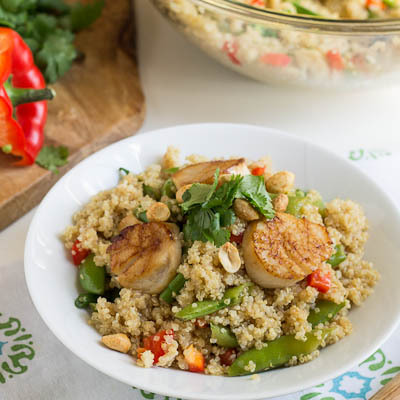 """<strong>Get the <a href=""""http://www.fortmillscliving.com/2013/02/24/recipe-toasted-quinoa-salad-with-scallops-and-sugar-snap-"""