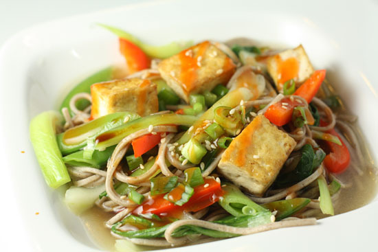 """<strong>Get the <a href=""""http://www.macheesmo.com/2009/09/soba-noodles-with-tofu/"""" target=""""_blank"""">Soba Noodles with Tofu rec"""