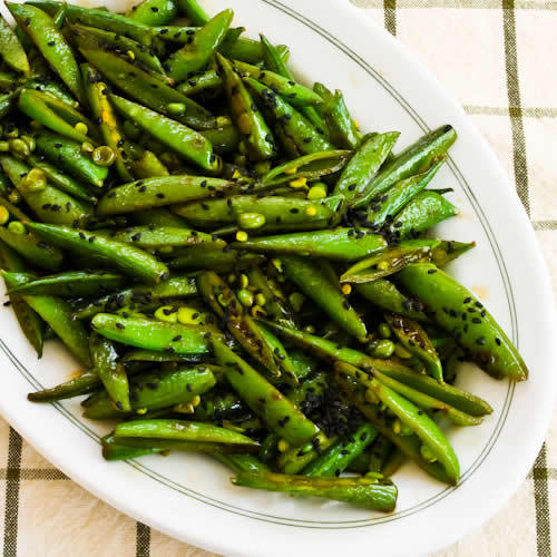 """<strong>Get the <a href=""""http://www.kalynskitchen.com/2011/02/recipe-for-spicy-stir-fried-sugar-snap.html"""" target=""""_blank"""">Sp"""