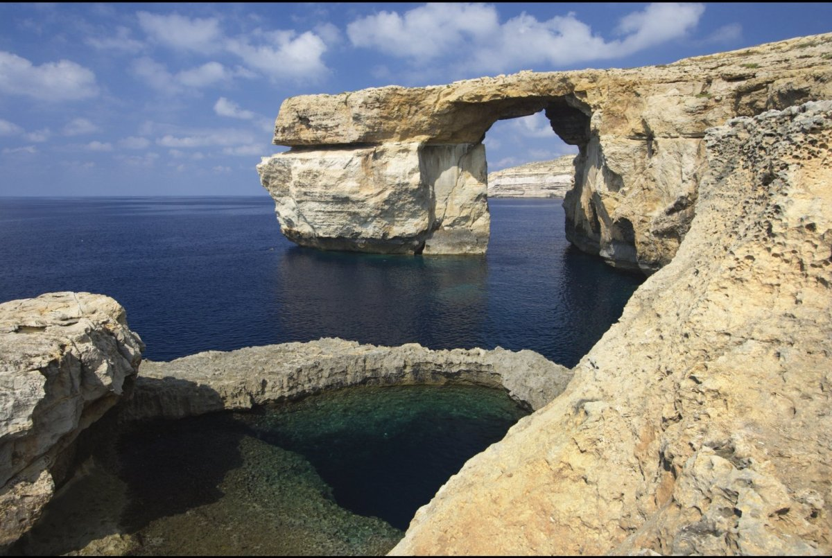 The natural limestone arch that sits on the Maltese island of Gozo formed the backdrop to the wedding of Daenerys Targaryen t
