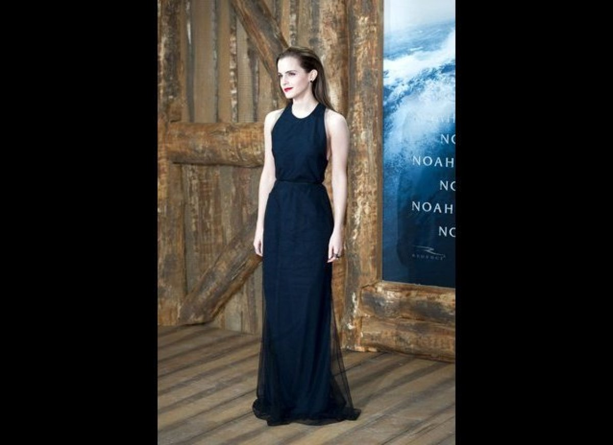 Emma Watson began promoting her new film <em>Noah</em> in Berlin, Germany, wearing a navy-and-black racer-back gown from Wes
