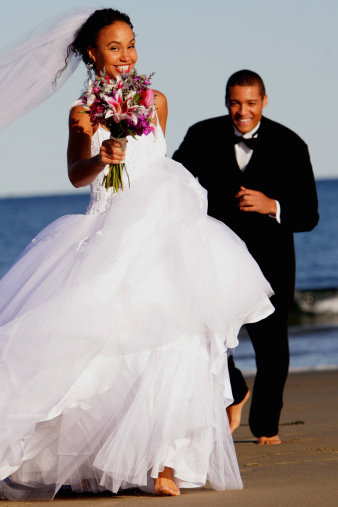 Pick a dress that fits your wedding theme and venue. For example, a full ball gown is not appropriate for a beach wedding.