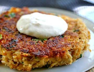 """<strong>Get the <a href=""""http://www.simplyrecipes.com/recipes/spicy_crab_cakes_with_horseradish_mayo/"""" target=""""_blank"""">Spicy"""