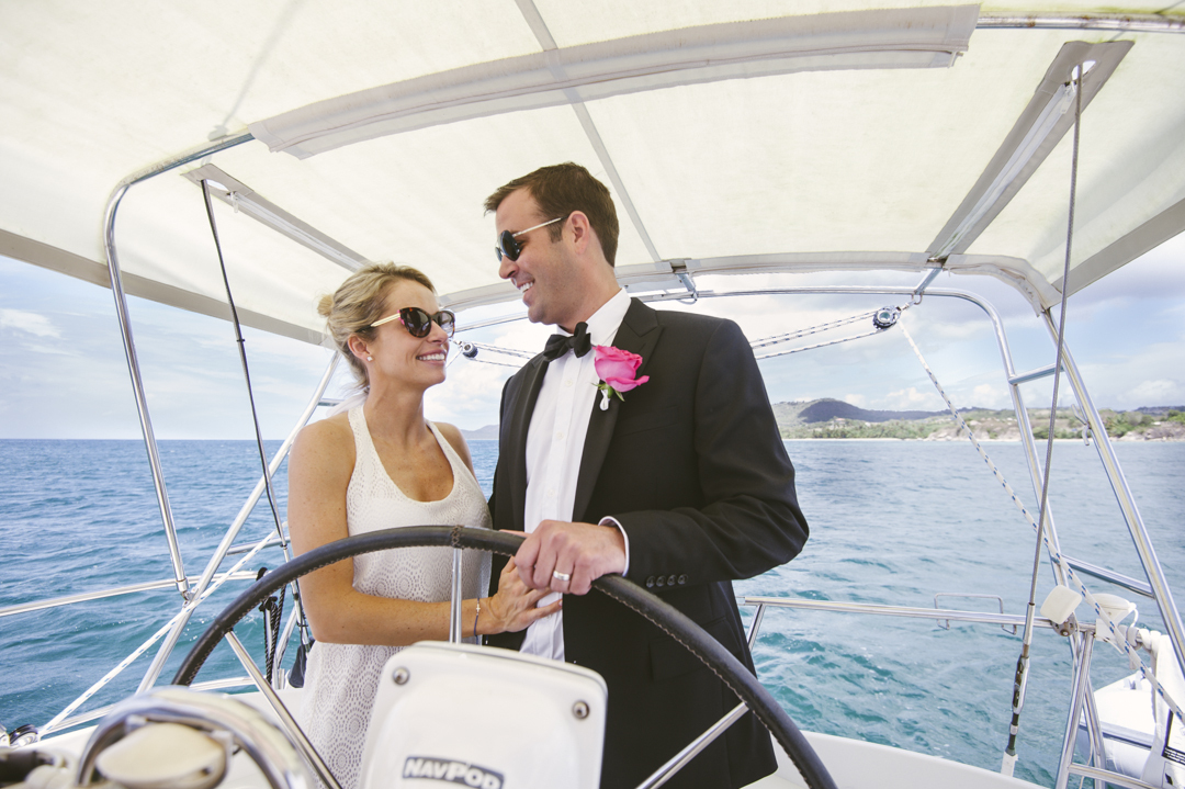 """""""Campbell Moore and William Gough's sail-away nuptials on Vieques Island, Puerto Rico."""""""