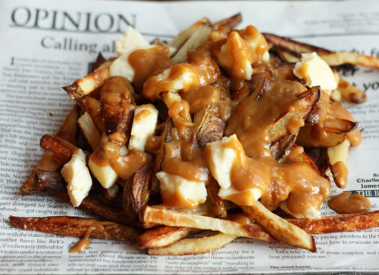 "<strong>Get the <a href=""http://www.flourishingfoodie.com/2011/04/vegetarian-poutine.html"">Vegetarian Poutine recipe</a> by F"