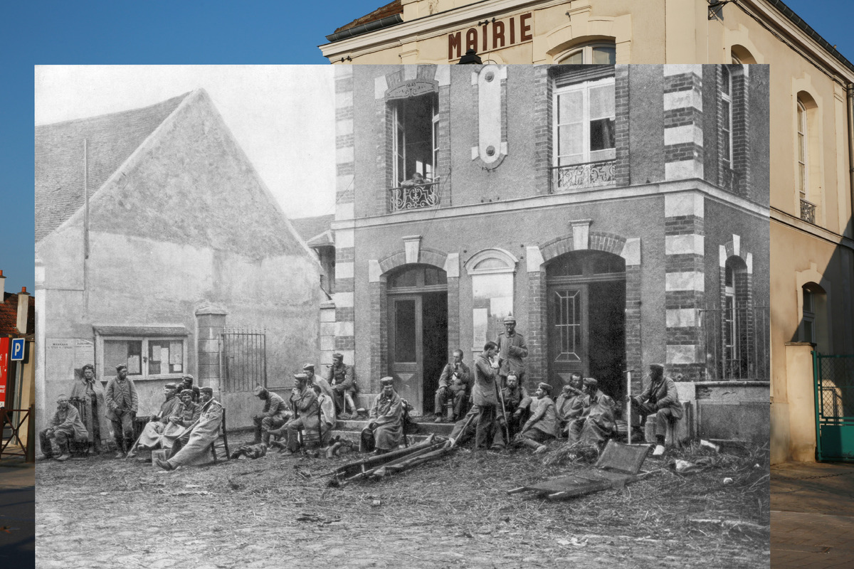 In the first picture, a man stands near the town hall of Vareddes, France, on March 12, 2014. In the second photo, German tro