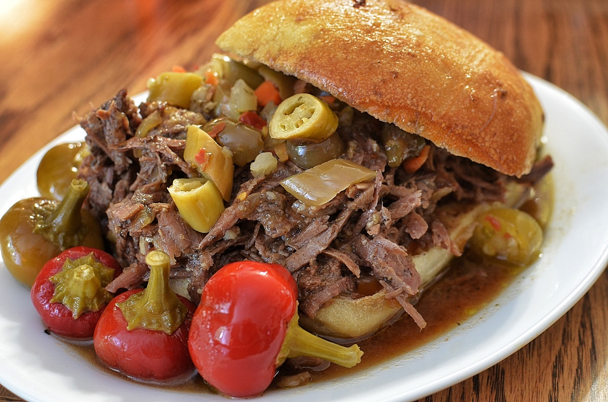 """While the beef is (of course) the star here, Chicago's signature Italian beef sandwich (tastiest at <a href=""""https://www.face"""