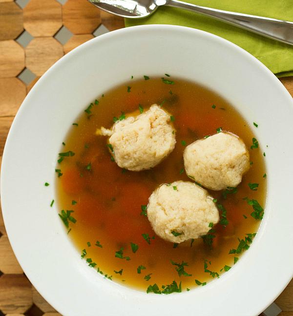 """<strong>Get the <a href=""""http://www.browneyedbaker.com/2013/09/04/matzo-ball-soup-recipe/"""" target=""""_blank"""">Matzo Ball Soup</a"""