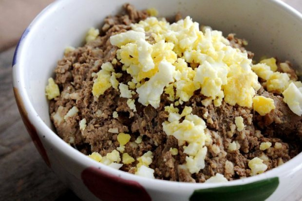 "<strong>Get the <a href=""http://whatjewwannaeat.com/chopped-liver/"" target=""_blank"">Chopped Liver</a> recipe from What Jew Wa"