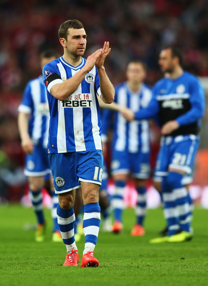 LONDON, ENGLAND - APRIL 12:  James McArthur of Wigan Athletic applauds the fans during the FA Cup Semi-Final match between Wi
