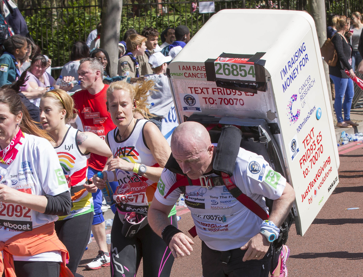 Tony the Fridge completes four marathons in 24 hours raising money for Cancer Research UK through JustTextgiving donations