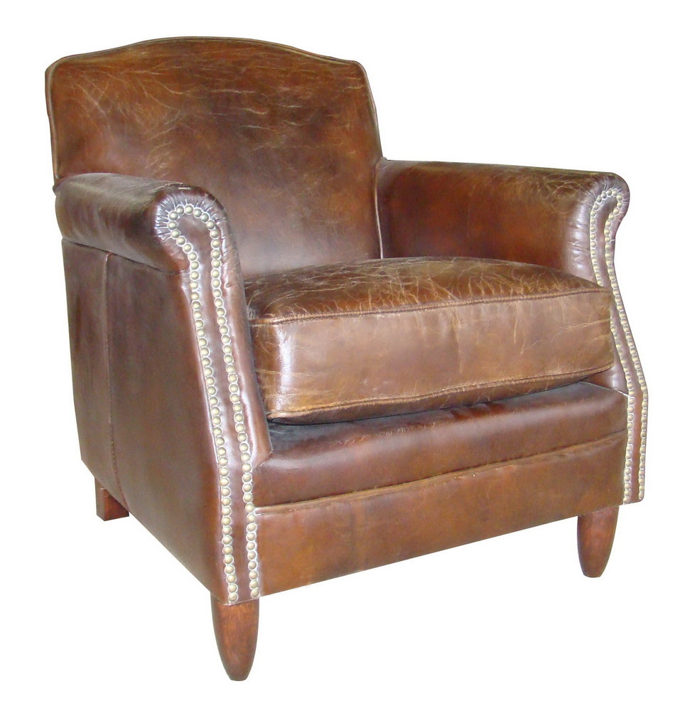 There's nothing quite as appealing as the look - and feel - of distressed, antique leather. A retro brown leather armchair wi