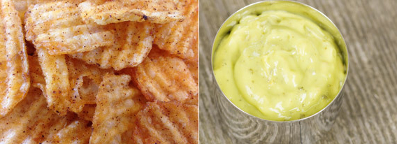 <b>The old way:</b> Plain, thick-cut chips have a predictable companion in bottled ranch dressing. <br><b>The new twist:</b>