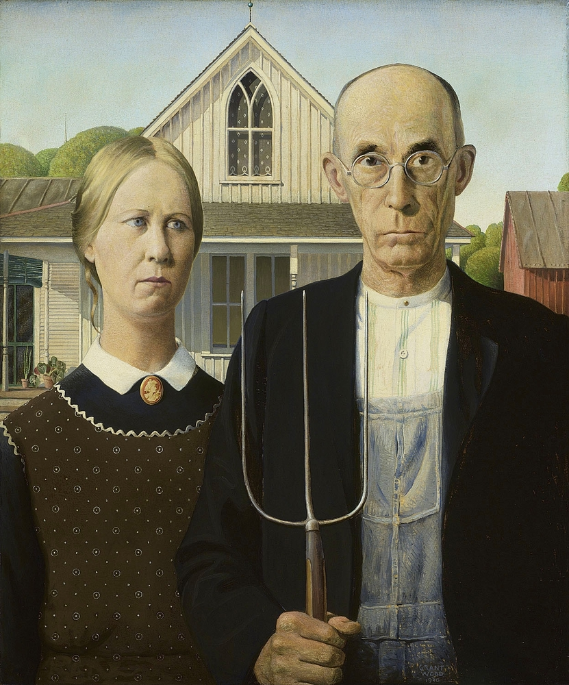Grant Wood, American Gothic, 1930. Oil on Beaver Board. 30 3/4 x 25 3/4 in. (78 x 65.3 cm). The Art Institute of Chicago, Fri