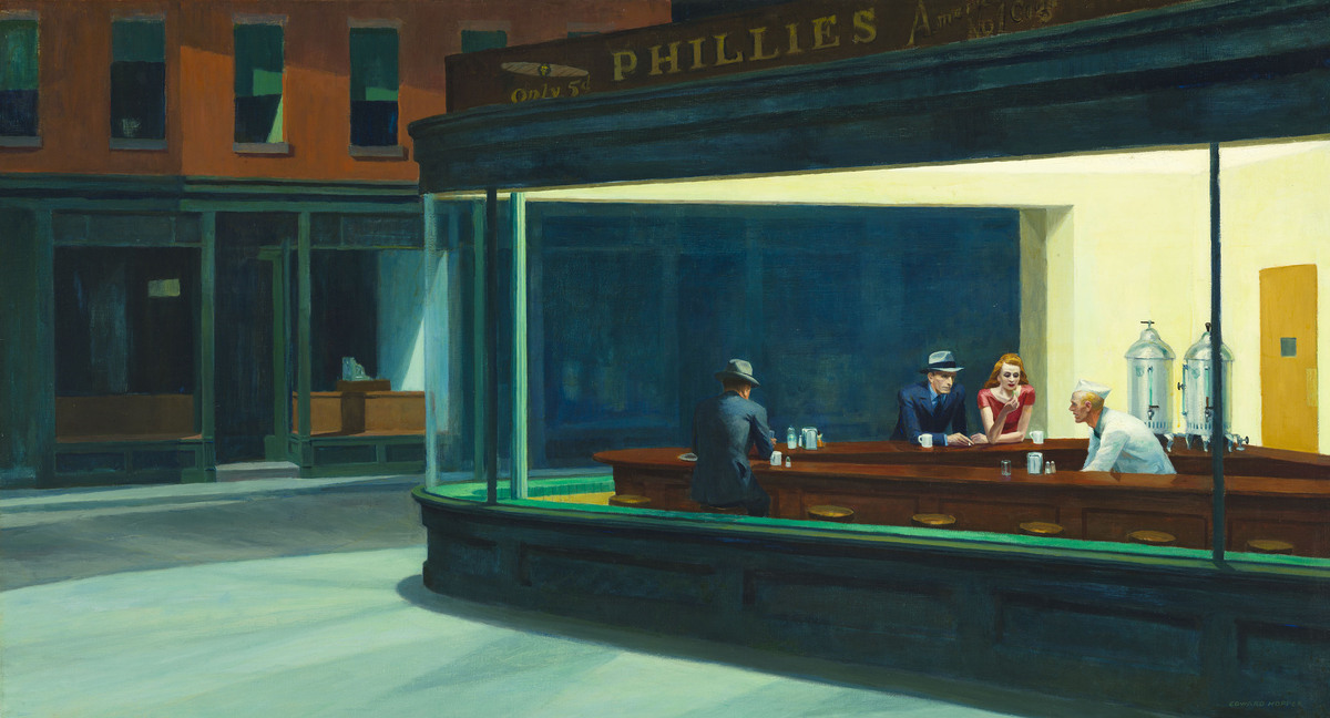 Edward Hopper, Nighthawks, 1942. Oil on canvas. 33 1/8 x 60 in. (84.1 x 152.4 cm). The Art Institute of Chicago, Friends of A