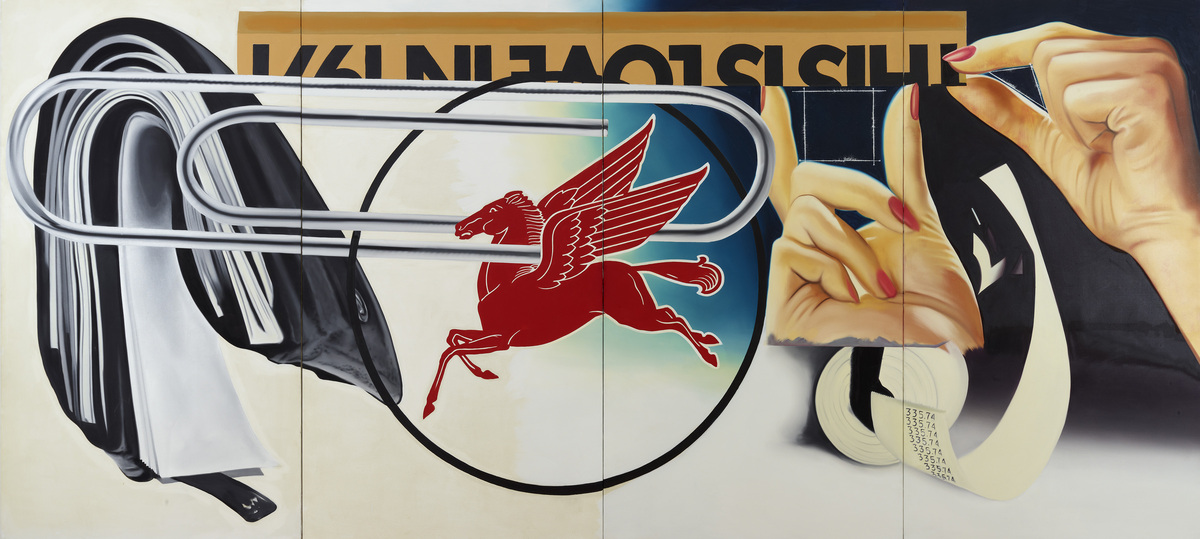 James Rosenquist, Paper Clip, 1973. Oil and acrylic on canvas. 102 1/4 x 224 in. (2 m 59.716 cm x 5 m 68.96 cm). Dallas Museu