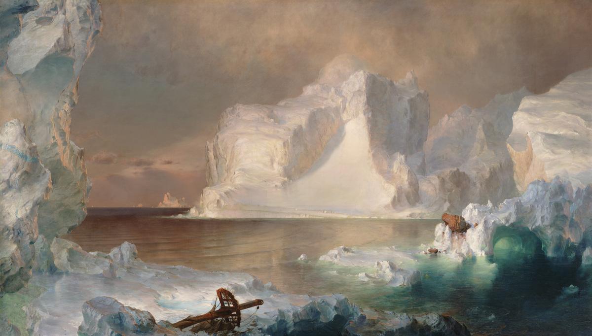 Frederic Edwin Church, The Icebergs, 1861. Oil on canvas. 64 1/2 x 112 1/2 in. (1 m 63.83 cm x 2 m 85.751 cm). Dallas Museum
