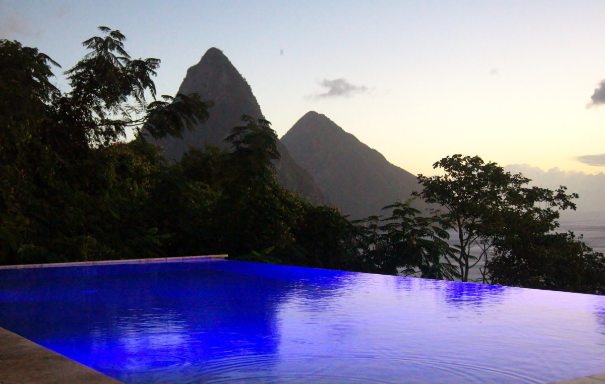 This private villa offers pristine views of the Pitons on the island of St. Lucia.