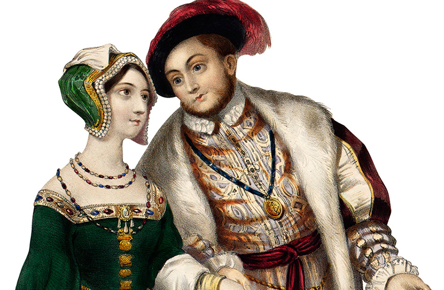 King Henry VIII bids his wife's lady-in-waiting, Anne Boleyn, a saucy good morrow. Union results in Church of England, El