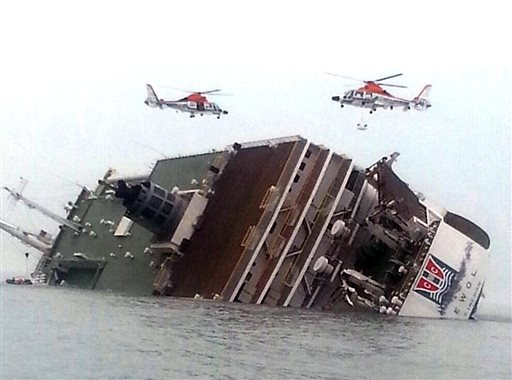 Rescue helicopters fly over a sinking South Korean passenger ferry that was carrying more than 450 passengers, mostly high sc