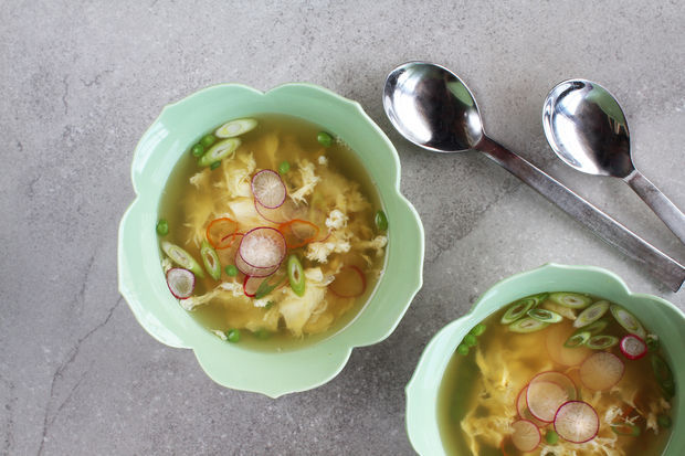 """<strong>Get the <a href=""""http://food52.com/recipes/21521-egg-drop-soup-with-ginger-chiles-spring-peas"""" target=""""_blank"""">Egg Dr"""